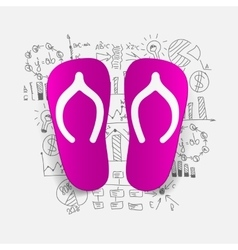 Drawing business formulas slippers vector