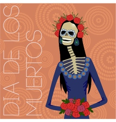 Day of dead sugar skull woman vector