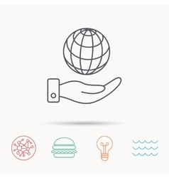 Save planet icon hand with globe sign vector