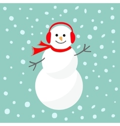Cartoon snowman in scarf and headphones blue vector