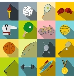 Summer sport flat icons set vector