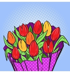 Flowers bouquet pop art style vector image