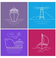 Set of bright color maritime icons vector