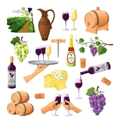 Color wine icons set on white background vector