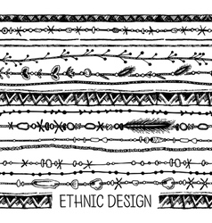 Tribal ethnic stripe seamless black and white vector