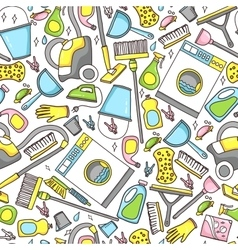 Doodle pattern of cleaning tools vector