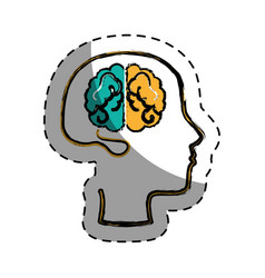 Brain human with profile creative icon vector
