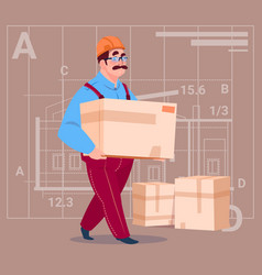 Cartoon builder carry box wearing uniform and vector