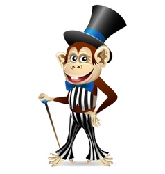 Cheerful monkey in dandy clothes vector