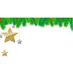 christmas banner with fir branches gold and vector image vector image