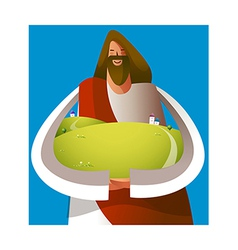Close-up of Jesus Christ holding grassland vector image vector image