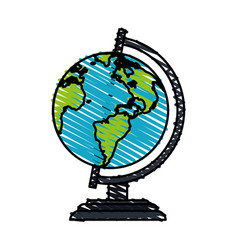 Color crayon stripe cartoon earth globe vector