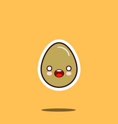 cute happy egg cartoon character isolated on white vector image vector image