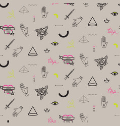 Doodle hipster flash tattoo style seamless beige vector
