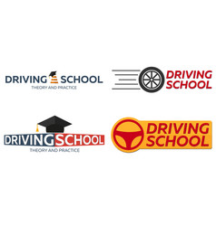 Driving school logo set auto education the rules vector