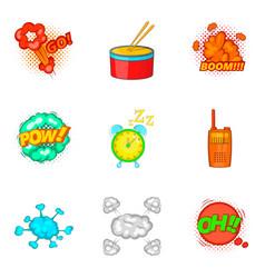drum bit icons set cartoon style vector image