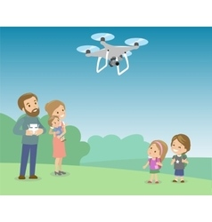 Father operating drone by remote control with kids vector