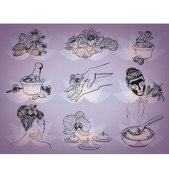 Hand Drawn Beauty Spa Icons vector image vector image