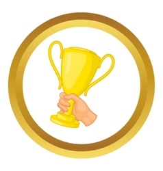 Hand holding gold trophy cup icon vector image vector image