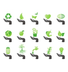 hand with green eco icons vector image vector image
