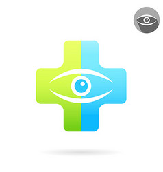 Human eye on medical multicolored plate vector image