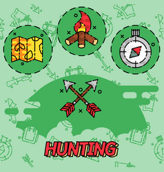 Hunting flat concept icons vector