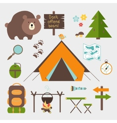 icons forest camping set vector image vector image
