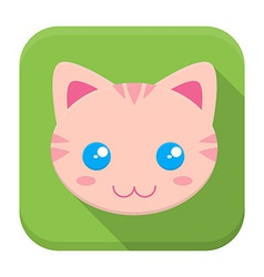 Kitty flat app icon with long shadow vector