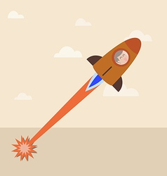 Man in a launching rocket to the sky vector image vector image