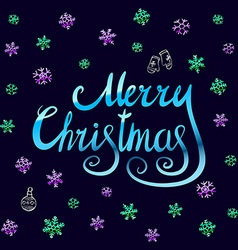 Merry Christmas - blue glittering lettering design vector image vector image