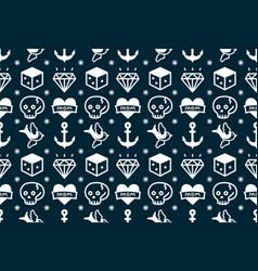 Old school tattoo hipster style seamless pattern vector
