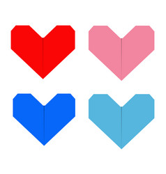 Paper heart icon set red blue pink origami vector