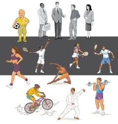 People in action vector
