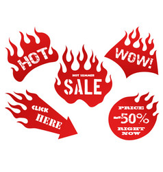 red flame tag labels vector image vector image