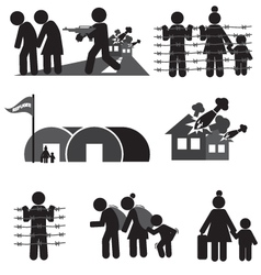 Refugee icon set vector