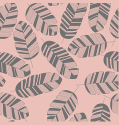 Seamless pattern with gray leaves on pink vector