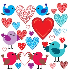 Set of birdies and hearts vector image vector image