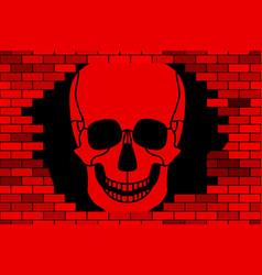 Skull and broken wall vector