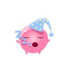 Sleeping round character emoji vector