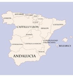 Spain map with regions names vector image vector image