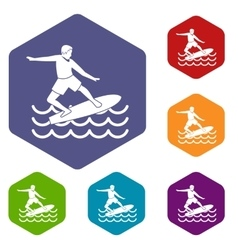 Surfer icons set vector image