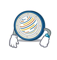 Waiting factom coin mascot cartoon vector