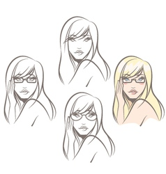 Woman wearing glasses vector