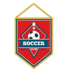 Red soccer pennant isolated white vector