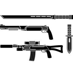 Set of weapons of special forces vector