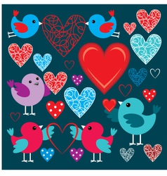 Set of birdies and hearts vector image