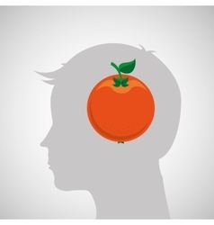 Silhouette head with tasty orange icon graphic vector
