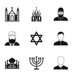 Faith icons set simple style vector
