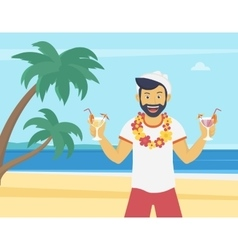 Happy young man enjoying and drinking cocktails on vector