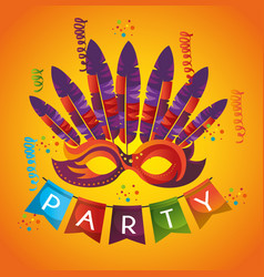 Mask carnival party icon vector
